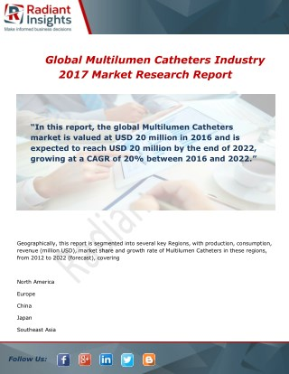 Global Multilumen Catheters Market Share, Size and Forecast Report 2017