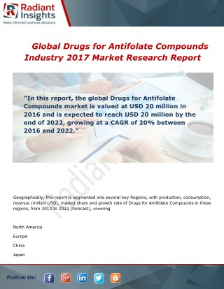 Global Drugs for Antifolate Compounds Market Growth, Analysis and Forecast Report To 2017