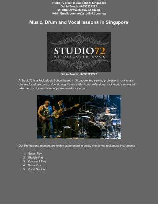 Professional Rock Music School In Singapore