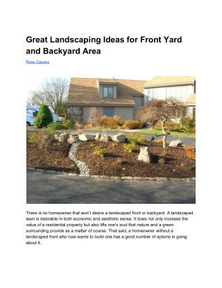 Great Landscaping Ideas for Front Yard and Backyard Area