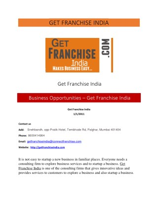 India's finest organization, Get Franchise India