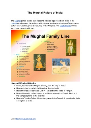 Family Tree of Mughal Rulers of India
