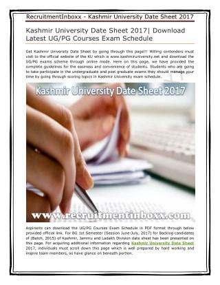 Kashmir University Date Sheet