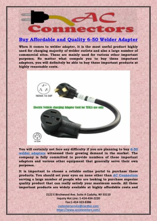 Buy Affordable and Quality 6-50 Welder Adapter