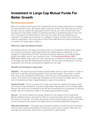 Investment in Large Cap Mutual Funds For Better Growth