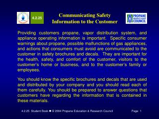 Communicating Safety Information to the Customer