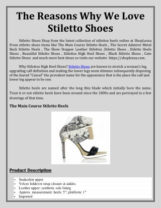 The Reasons Why We Love Stiletto Shoes