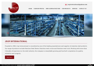 Manufactures Good Stainless Steel Products in Jrop International