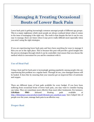 Treating & Managing Occasional Bouts of Lower Back Pain