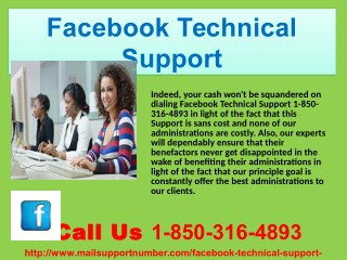 Get the reliable services from the Facebook Technical Support 1-850-316-4893 team
