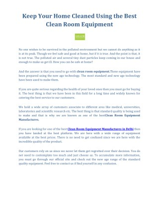 Best Clean Room Equipment Manufactures | Grace Lab