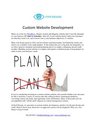 Custom Website Development - Eye9design, Denver
