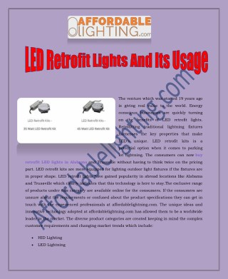 LED Retrofit Lights And Its Usage