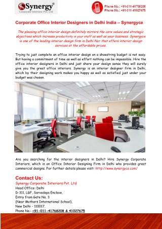 Office Interior Designers in Delhi India – Synergyce
