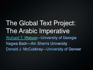The Global Text Project: The Arabic Imperative