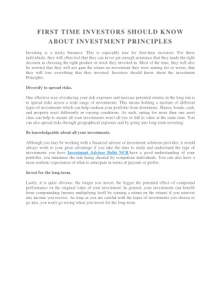 FIRST TIME INVESTORS SHOULD KNOW ABOUT INVESTMENT PRINCIPLES