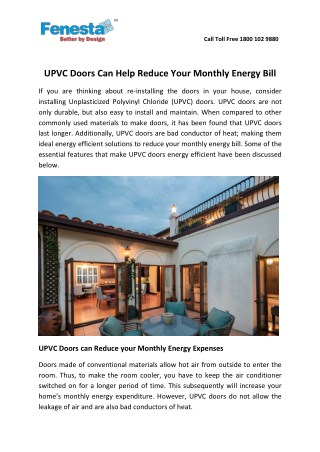 UPVC Doors Can Help Reduce Your Monthly Energy Bill