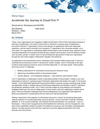 Accelerate The Journey to Cloud First IT