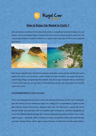 How to Enjoy Car Rental in Corfu