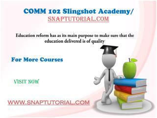 COMM 102 Slingshot Academy / snaptutorial.com
