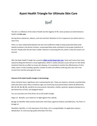 Kyani Health Triangle for Ultimate Skin Care