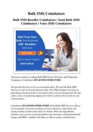 Bulk SMS  Services Provider Coimbatore.
