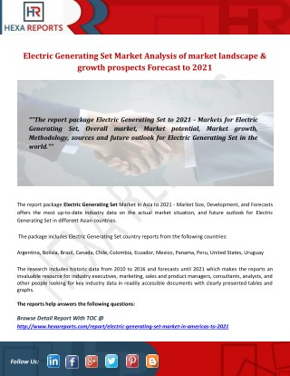 Electric generating set market analysis of market landscape & growth prospects forecast to 2021