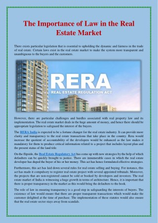 The Importance of Law in the Real Estate Market