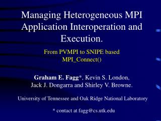 Managing Heterogeneous MPI Application Interoperation and Execution.