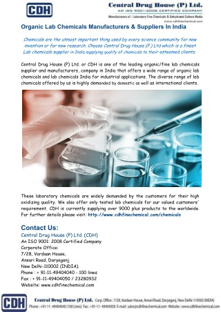 Organic Lab Chemicals Manufacturers & Suppliers In India