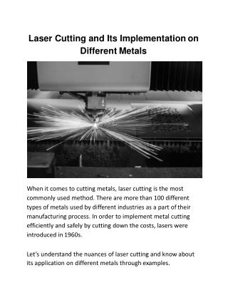 Laser Cutting and Its Implementation on Different Metals