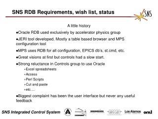 SNS RDB Requirements, wish list, status