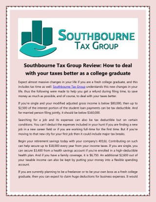 Southbourne Tax Group Review: How to deal with your taxes better as a college graduate
