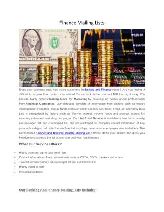 Banking and Finance Mailing Lists | B2B Leo