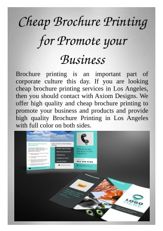Cheap Brochure Printing for Promote your Business