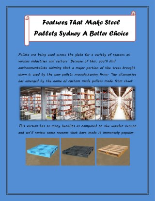 Features That Make Steel Pallets Sydney A Better Choice