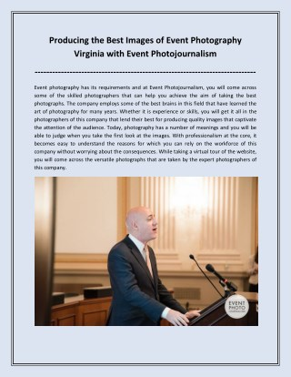 Producing the Best Images of Event Photography Virginia with Event Photojournalism
