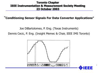 Toronto Chapter IEEE Instrumentation  Measurement Society Meeting 23 October 2003
