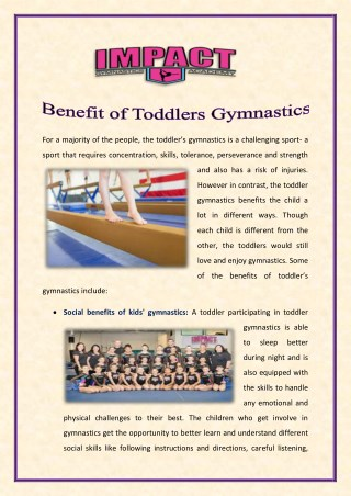 Benefit of Toddlers Gymnastics
