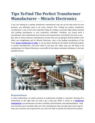 Tips To Find The Perfect Transformer Manufacturer - Miracle Electronics