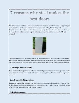 7 reasons why steel makes the best doors