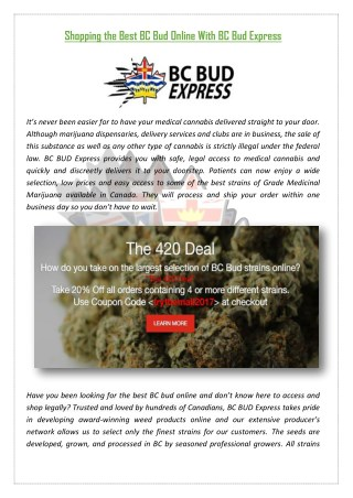 Shopping the Best BC Bud Online With BC Bud Express