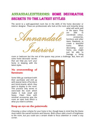 AnnandaleInteriors:Home Decorator Secrets To The Latest Styles