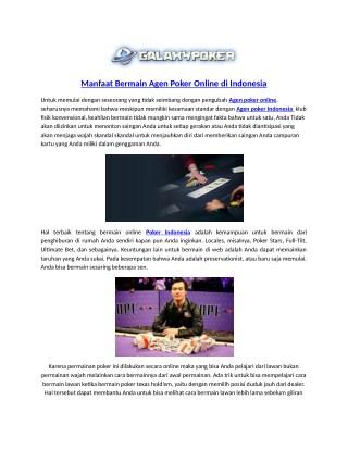 Manfaat Bermain Agen Poker Online di Indonesia