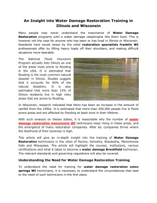 An Insight into Water Damage Restoration Training in Illinois and Wisconsin