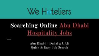 Find And Apply Online Abu Dhabi Hospitality Jobs