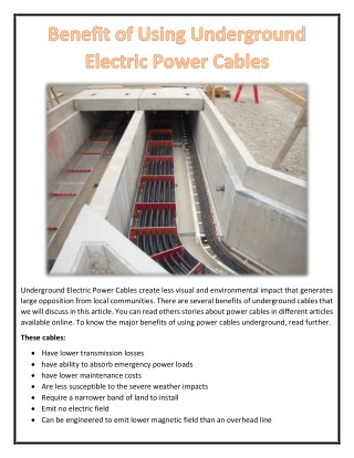 Benefit of Using Underground Electric Power Cables