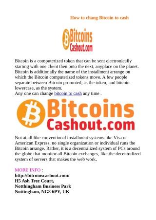 Bitcoin to cash