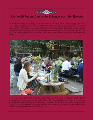 Join Youth Retreat Camps To Enhance Your Self Esteem