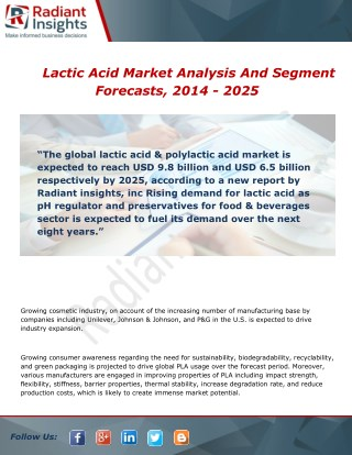 Lactic Acid Market Analysis, Growth and Overview Report To 2014 - 2025